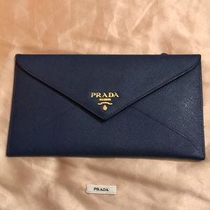 Prada Navy Blue Wallet Pouch
